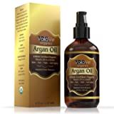 Virgin USDA Organic Moroccan Argan Oil for Hair & Skin, 4 fl. oz. USDA & ECOCERT Certified, Cold-Pressed, Unrefined 100% Pure Argan Oil for Skin, Hair & Nails – Convenient Pump Bottle (Tamaño: 4 Ounces)