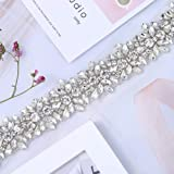 XINFANGXIU 1 Yard Bridal Wedding Dress Sash Belt Applique with Crystals Rhinestones for Women Gown Evening Prom Clothes Handcrafted Sparkle Thin Sewn or Hot Fix (Color: Silver-t)