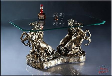 Neuheit Couchtisch Pferde Antik Wohnzimmertisch Tisch Glastisch Luxusmöbel