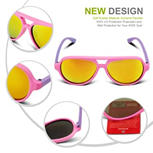 dc21a14117d RIVBOS Rubber Kids Polarized Sunglasses With Strap Glasses Shades for Boys  Girls Baby and Children Age 3-10 RBK004 ...