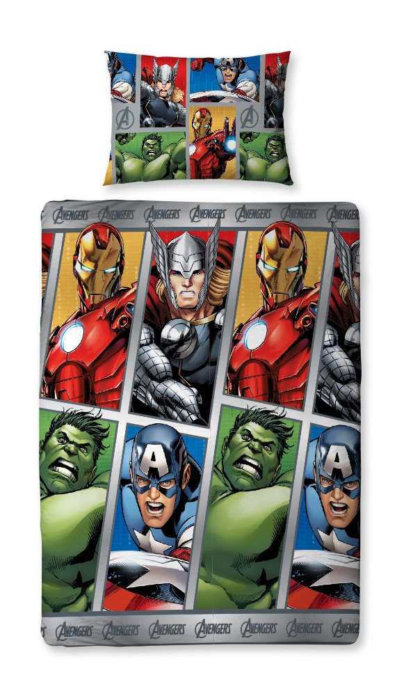 Marvel Avengers 'Team' Reversible Single Duvet Cover With Pillowcase