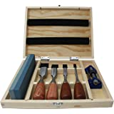 6 Piece Premium Rosewood Woodworking Chisel Set with 4 Chisels, Honing Guide, Sharpening Stone and Wooden Storage Box
