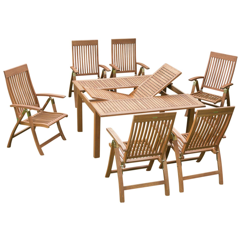 Holz Garnitur COMODORO 7-teiligaus, 6x Klappsessel, 1x Ausziehtisch 100/150x150cm, Eukalyptus geölt. FSC®-zertifiziert