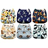 Mama Koala One Size Baby Washable Reusable Pocket Cloth Diapers, 6 Pack with 6 One Size Microfiber Inserts (Cattitude) (Color: Cattitude, Tamaño: One Size)