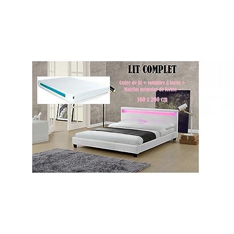 LIT COMPLET Cadre de lit Valentin en simili cuir Blanc LED 160x200cm + Sommier à lattes + Matelas Essentiel mémoire de forme