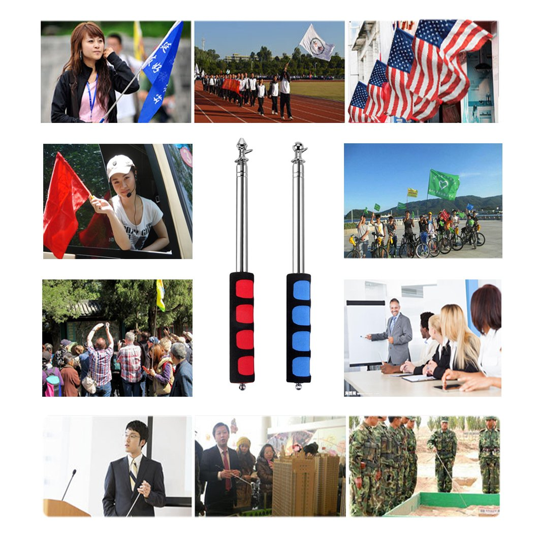 Guide Flag Pole, BonyTek Telescoping Stainless Steel Guide Flagpole Teaching Pointer for Tour Guides Tour Groups Travel Marchers Flags Banners Teachers (47 and 55 2 Pack Flagpoles)