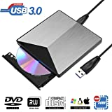 External DVD Drive, BOSLISA USB 3.0 DVD CD Burner, CD-RW Player, Optical DVD Superdrive High Speed Data Transfer for Laptop Air iMac Desktop PC Support Windows10 /8/7 /XP/Mac OS (Silver) (Silver) (Color: Silver)