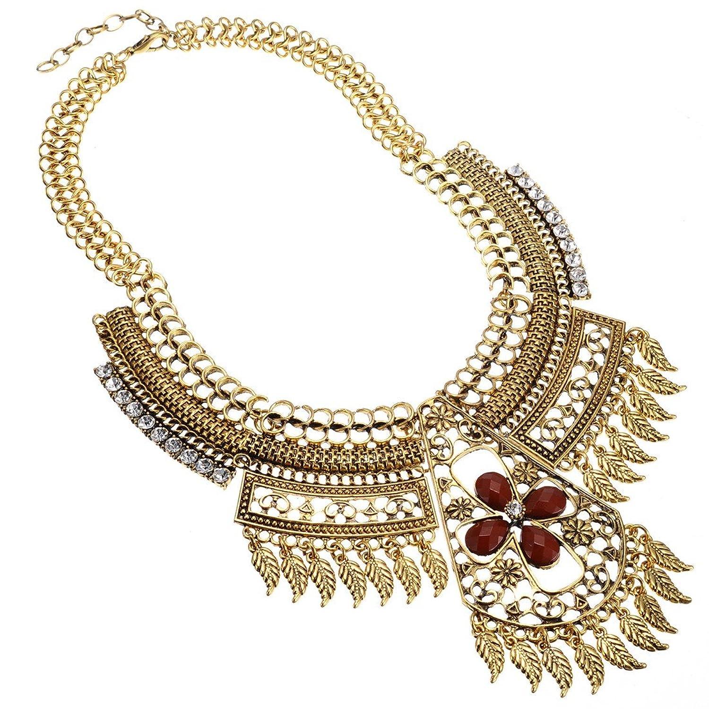 Jerollin Vintage Ethnischen-Stil Golden Kette Kragenschmuck Halskette fuer Geschenk Party Abenskleidung(Weisse Kristall und Braun Resin) günstig bestellen
