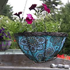 Toland Home Blue Marrakesh Hanging Art Planter - 14 in.