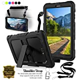 Galaxy Tab A 10.1 Case,T580 Case,Shockproof Full-body Protective Rugged Bumper Cover Skin W/Kickstand & Shoulder Strap + Screen protector for Samsung Galaxy Tab A 2016 SM-T580 SM-T585(No Pen Version) (Color: Black)