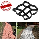 VIPITH New Upgrade Version 13 x 13 inch DIY Walk Maker Concrete Stepping Stone Mold Reusable Patio Path Mold Maker Garden Lawn Paving Stone Mold (Color: Black, Tamaño: Random pattern)