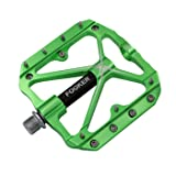FOOKER Mountain Bike Pedals Non-Slip Bike Pedals Platform Bicycle Flat Alloy Pedals 9/16 Needle Roller Bearing (Green Needle Roller Bearing) (Color: Green needle roller bearing)