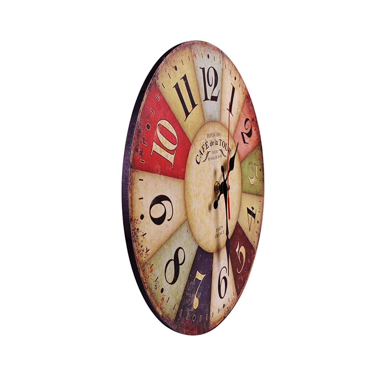 Wood Wall Clock, NALAKUVARA Vintage Colorful France Paris French Country Tuscan Retro Style Arabic Numerals Design Non -Ticking Silent Quiet Wooden Clock Gift Home Decorative for Room, 12-Inches 2
