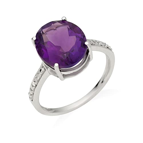 Miore Jm039R5W 9Ct White Gold Ladies Oval - Shaped Amethyst & Diamond Ring