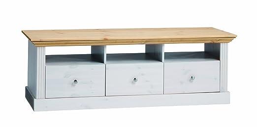 Steens Furniture 3177100288001F TV Lowboard 710/13+88, 3-Schubladen, 3-Ablagen, ideal fur den großen Fernseher, 145 x 49 x55.5 cm Kiefer massiv gebeizt, weiß lasiert