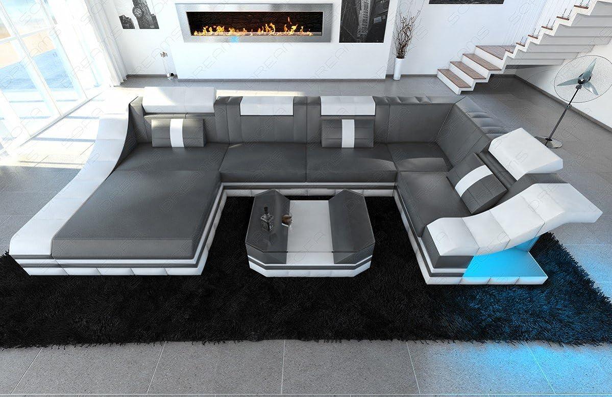 Moderne Wohnlandschaft TURINO U-Form mit LED Beleuchtung online kaufen