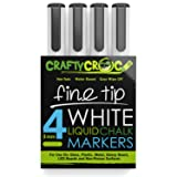 Crafty Croc Fine Tip Chalk Markers - (Precise 3mm Tip, 4 White) - Erasable Dustless Liquid Chalk Ink Pens, Water-Based, Non-Toxic (Color: 4 Pack White, Tamaño: Fine Tip (3mm))