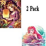 DIY 5D Diamond Painting Kit, 2 Pack Disney Princess Ariel Rapunzel Round Full Drill Crystal Rhinestone Embroidery Cross Stitch Arts Craft Canvas for Home Wall Decor Adults and Kids (Color: Disney Princess Ariel Rapunzel, Tamaño: 16