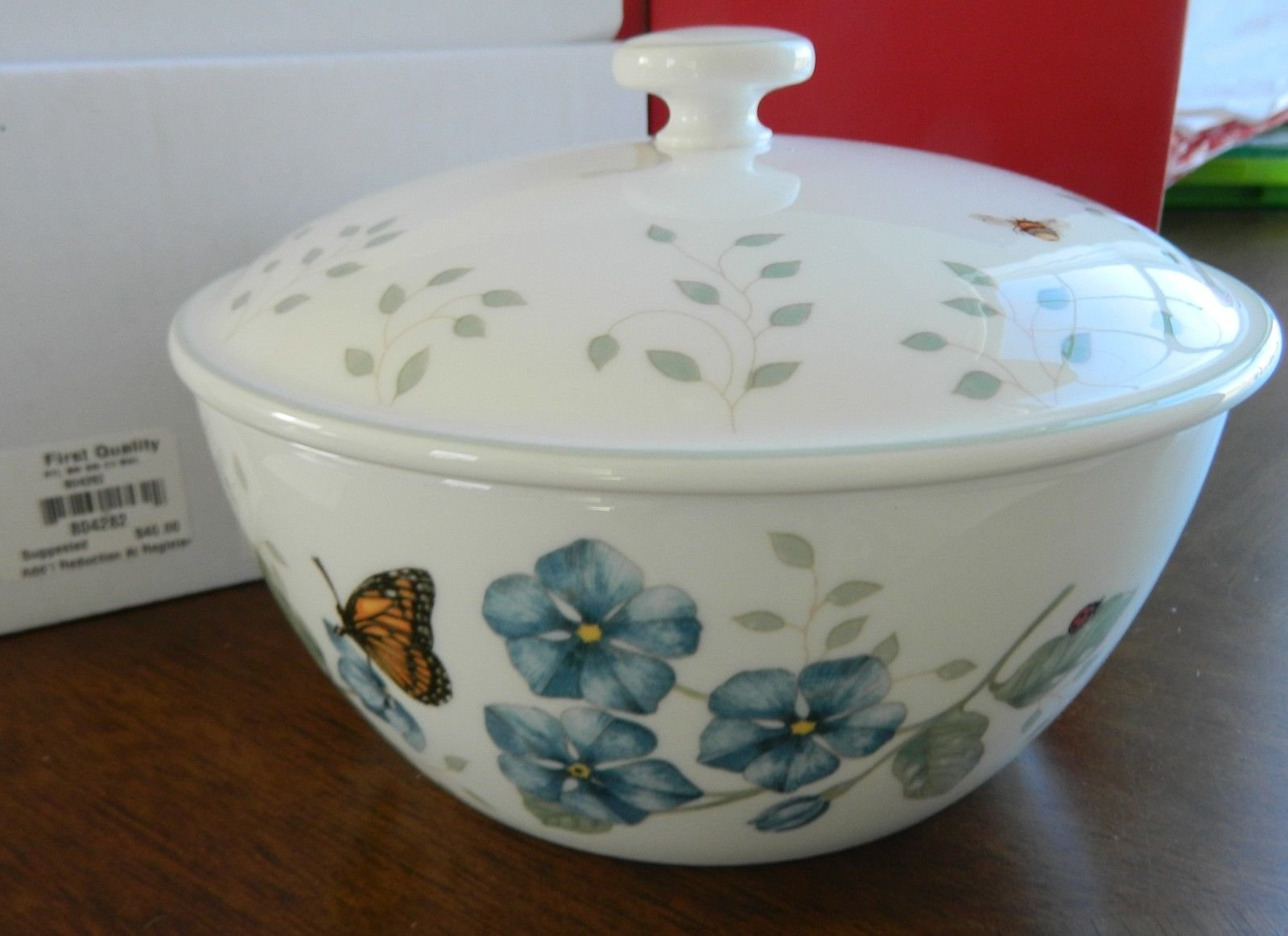 Lenox china butterfly meadow covered bowl new with tag for Table 6 lenox