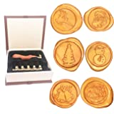 Christmas Wax Seal Stamp Set, Botokon 6 Pieces Sealing Wax Stamp Maker + 1 Wooden Hilt, Vintage Retro Classical Initial Wax Stamper Kit for Holiday Decorations, Postcards, Invitations, Gift (Color: Merry Christmas+Snowman+Santa Claus+Jingling Bell+Reindeer+Christmas Tree)