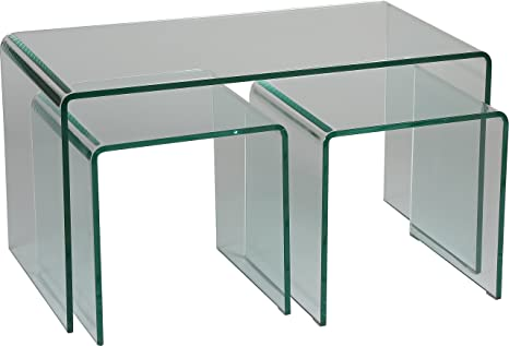 Set of 3 Coffee tables with Tempered Safety Glass Curved Screen