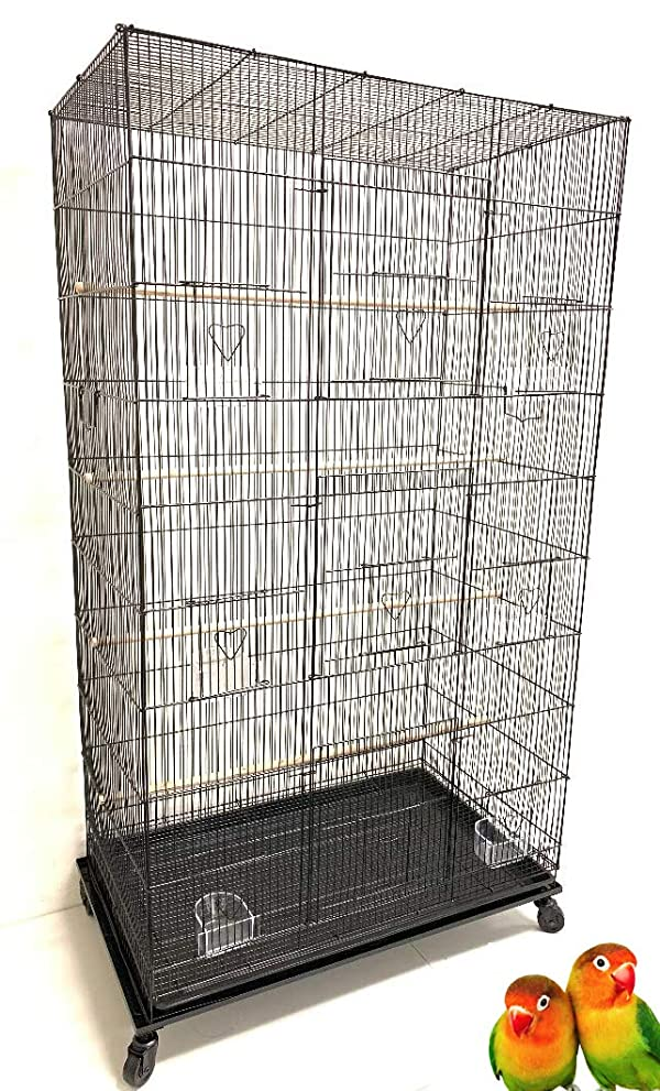Mcage Extra Large Pet Products Flight Cage with Stand30 Length x 18 Depth x 55 Height (Color: Black, Tamaño: *30Length x 18Depth x 55Height)