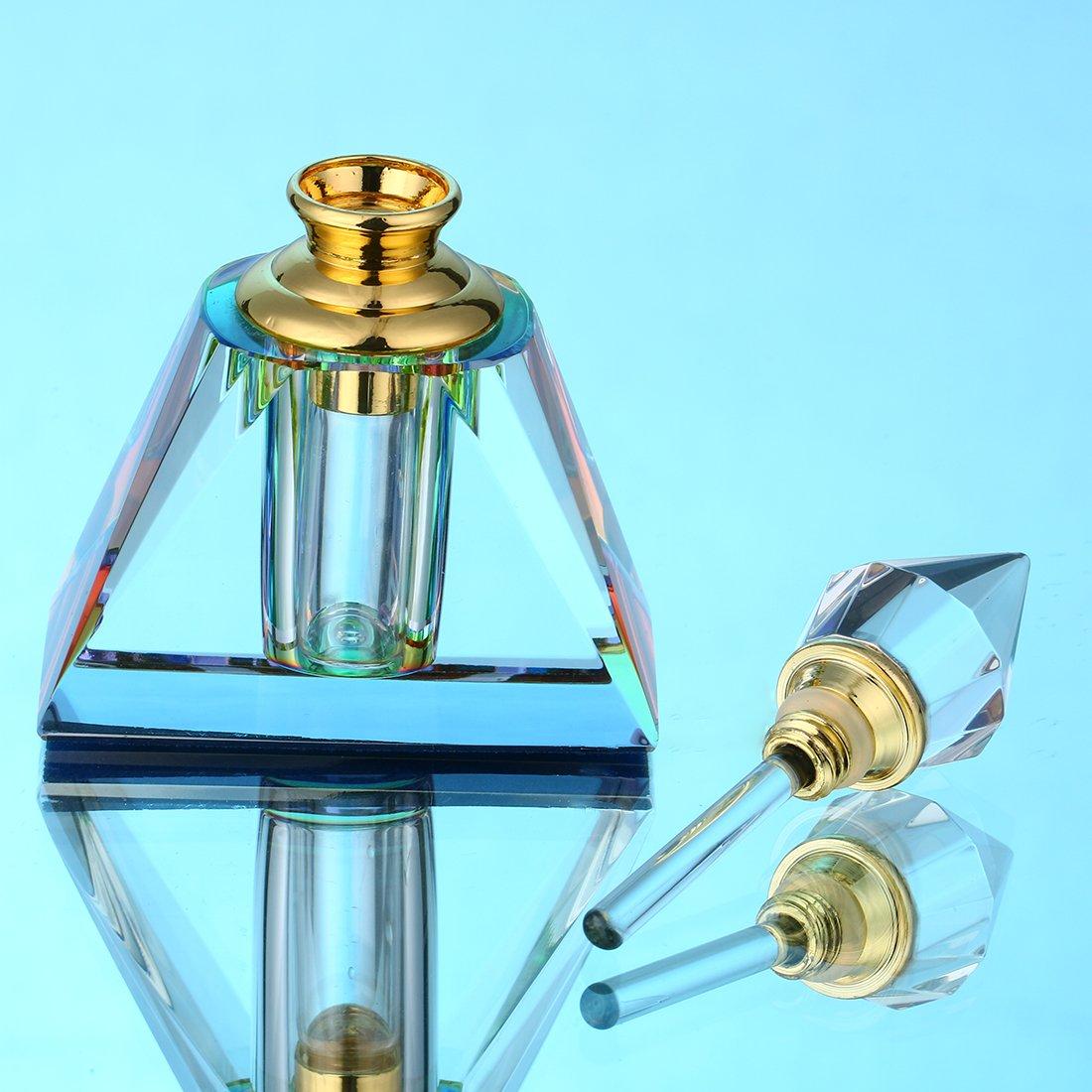 H&D Vintage Egyptian Perfume bottle Decor Refillable Mini Empty Potions Glass 3ML (Rectangular pyramid)