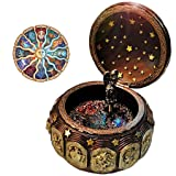 Vintage Music Box with 12 Constellations Rotating Goddess LED lights Twinkling Resin Carved Mechanism Musical Box with Sankyo 18-Note Wind Up Signs of the Zodiac Gift For Birthday Christmas (A1 Gold) (Color: A1 Gold)