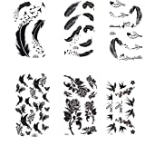 King Horse Black feather Rose birds Butterfly Temporary Tattoos 6 Sheets