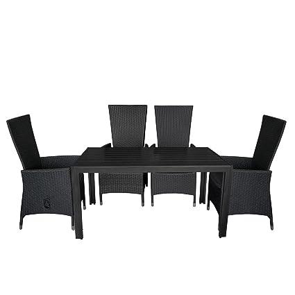 5tlg. Gartengarnitur Aluminium verstellbarer Poly Rattansessel Gartentisch mit schwarzer Polywood Tischplatte150x90cm Sitzgruppe Sitzgarnitur Balkonmöbel Terrassenmöbel Set