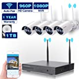 Wireless Security Camera System WIFI NVR Kit CCTV 4CH 1080P NVR 4pcs 960P Indoor Outdoor Bullet IP Cameras P2P IR Night Vision Waterproof Plug and Play Easy Remote View Playback with 1TB HDD