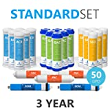 Express Water – 3 Year Reverse Osmosis System Replacement Filter Set – 23 Filters with 50 GPD RO Membrane, Carbon GAC, ACB, PAC Filters, Sediment SED Filters – 10 inch Size Water Filters (Color: White, Tamaño: Standard Size)
