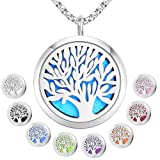 Essential Oil Diffuser Pendant Necklace,Stainless Steel Aromatherapy Diffuser Magnetic Locket Necklaces with 26