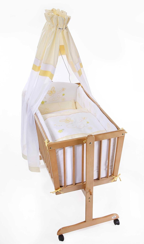 Easy Baby 181-86 Komplettwiege natur mit Rollen inklusiv Garnierung, Matratze und Himmelhalter Butterfly, gelb
