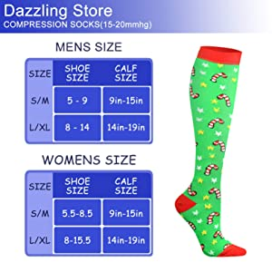 Compression Socks 15-20 mmHg is Best Athletic & Medical for Men & Women Running Flight Travel Nurses Pregnant (04 Black/Red/Red/Green/Green/White, Large/X-Large (US Women 8-15.5/US Men 8-14)) (Color: 04 Black/Red/Red/Green/Green/White, Tamaño: Large/X-Large (US Women 8-15.5/US Men 8-14))