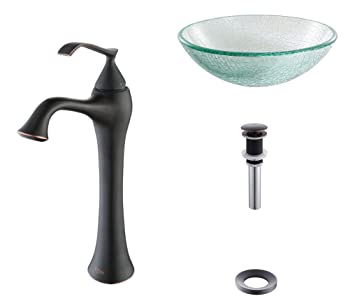 Kraus C-GV-500-12mm-15000ORB Broken Glass Vessel Sink and Ventus Faucet Oil Rubbed Bronze