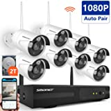[Full HD] WirelessSurveillanceCameraSystem, SMONET 8CH 1080P HD Outdoor Security Cameras Video System-8PCS 2.0MP Weatherproof Bullet IP Cameras,P2P,65ft Night Vision, 2TB HDD (Color: 8pcs 1080P Cams+8CH 1080P NVR(2TB HDD), Tamaño: 1080P Wireless System)