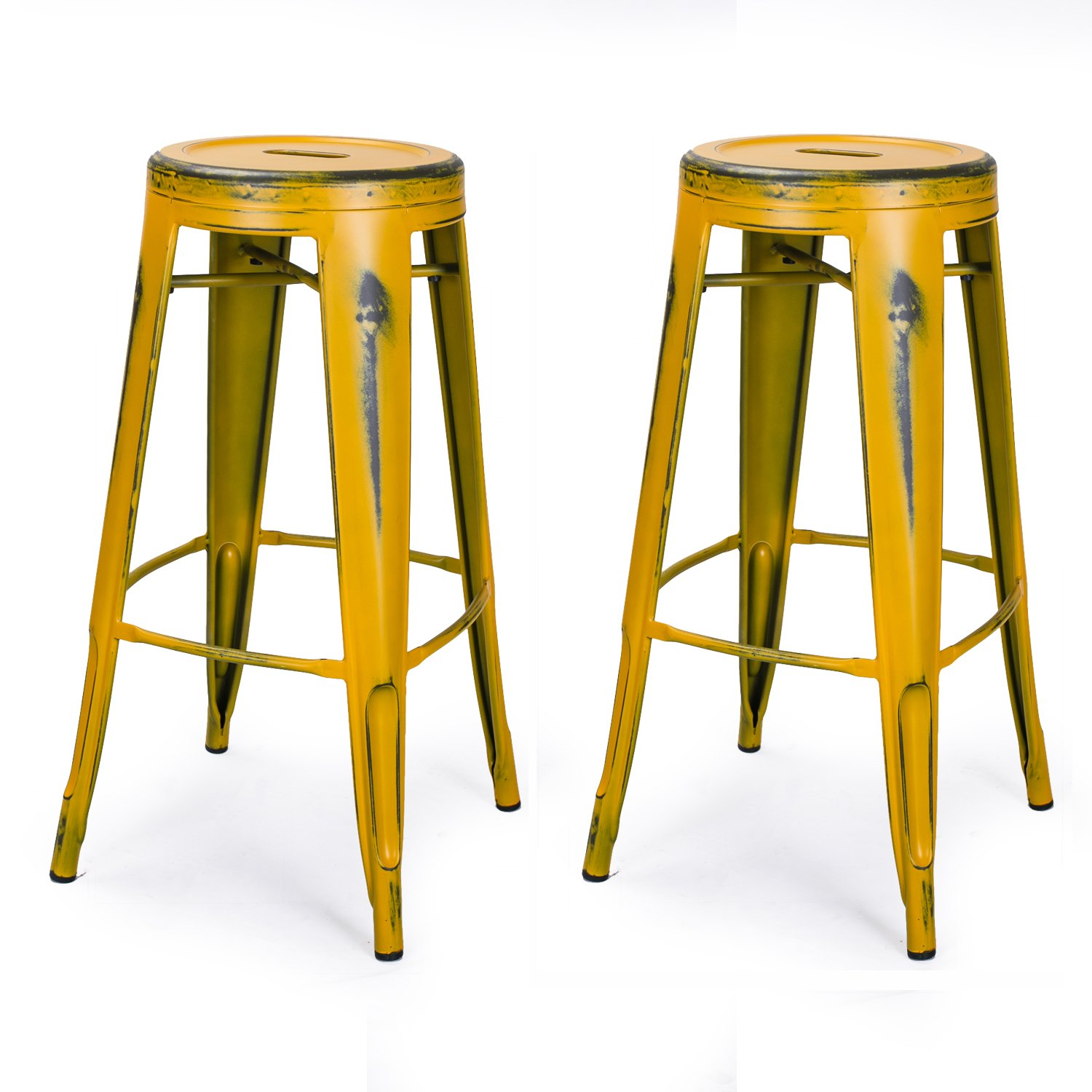Joveco 30 Inch Vintage Inspired Metal Bar Stools Set Of 2