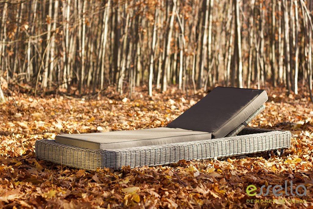 essella Polyrattan Sonnenliege Long Island in Grau mit extra starkem 4 mm Rundgeflecht günstig online kaufen
