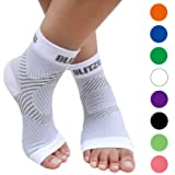 BLITZU Plantar Fasciitis Socks with Arch Support, Foot Care Compression Sleeve, Eases Swelling & Heel Spurs, Ankle Brace Support, Relieve Pain Fast White L-XL (Color: White, Tamaño: Large/X-Large)