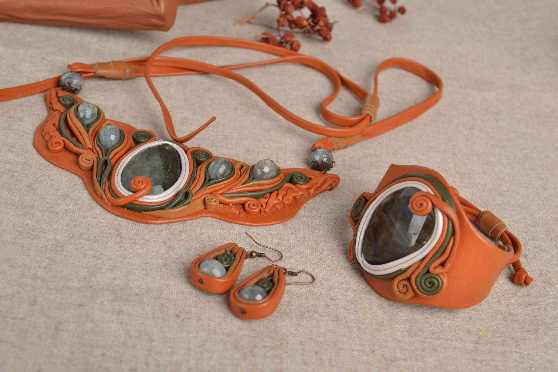 Damen Schmuck Set handmade Ohrringe Leder Armband Schmuck Collier aus Leder kaufen