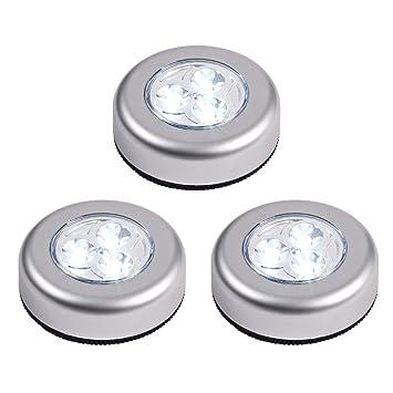 lot de 3 lampes lampes spots led autocollants piles piles de lights4fun cuisine maison. Black Bedroom Furniture Sets. Home Design Ideas