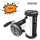 ERAYAK Power Inverter 200W DC 12V to 110V AC Car Inverter with 2 AC outlets and USB Charging Port Multi-purpose Cup Holder Car Converter (Color: 200W)