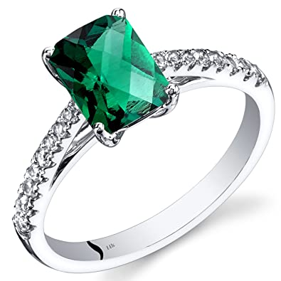 Revoni 14ct White Gold Created Emerald Ring Radiant Cut 1.25 Carats