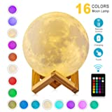 DTOETKD Moon Lamp 3D Printing 16 Colors Moon Light with Stand & Remote &Touch Control and USB Rechargeable (Diameter 4.72 inch), Best Gifts for Baby Kids LoverBirthday (Color: White, Tamaño: 4.72 inch)