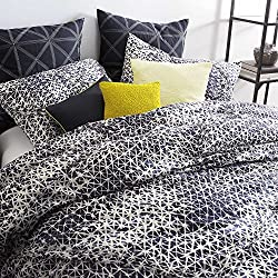 DKNY Gridlock navy blue white king comforter set cotton