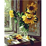 Colour Talk DIY Oil Painting, Paint by Number Kits - Warm Sunflower 16x20 Inch (Tamaño: Frameless)