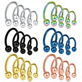 Ruifan 24PCS 14G Surgical Steel Nose Septum Horseshoe Earring Eyebrow Tongue Lip Nipple Helix Tragus Piercing Rings 8-14mm
