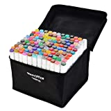 Memoffice 120 Colors Dual Tips Alcohol Markers, Art Markers Set for Kids Adults, Alcohol Based Markers with Carrying Case for Anime Design, Painting, Highlighting, Great Christmas Gift Idea (Color: multi, Tamaño: 120pcs)