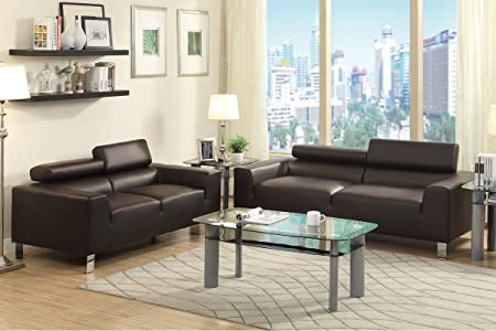 Sofa and Loveseat Set with Head Rest (Espresso Bonded Leather)